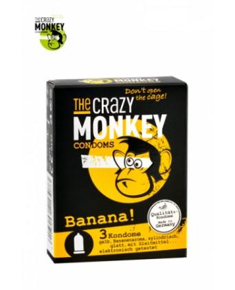 3 Préservatifs Crazy Monkey Banane - Préservatifs