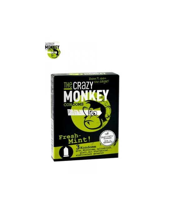 3 Préservatifs Crazy Monkey Menthe Fraiche - Préservatifs