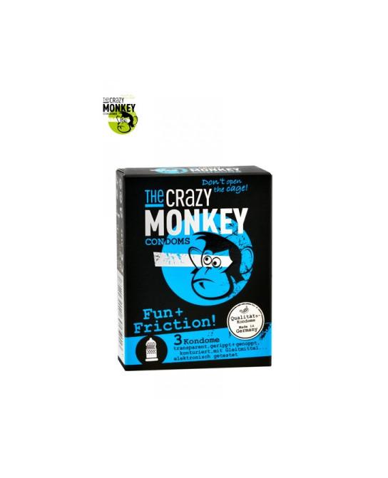 3 Préservatifs Crazy Monkey Fun & Friction - Préservatifs