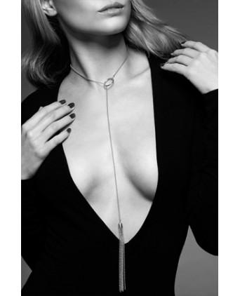 Collier métallique argenté avec franges - Fetish et Glamour