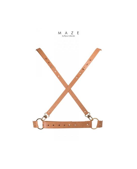 Harnais X marron - Maze - Fetish et Glamour