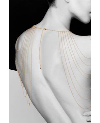 Bijoux épaules et dos en chainettes métalliques dorées - Fetish et Glamour