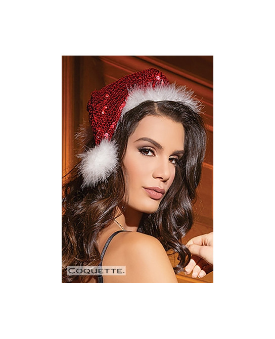 Bonnet de Noel sequins Santa - Déguisements femme