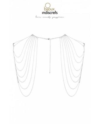 Bijoux d'épaules et de dos en chainettes métalliques argentées - Fetish et Glamour