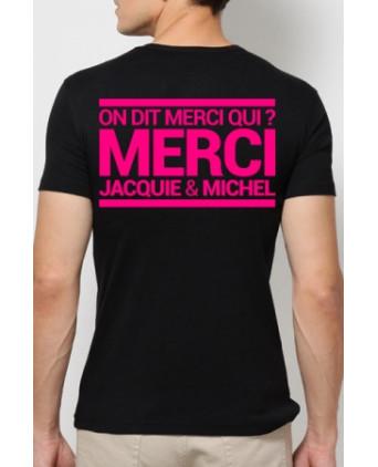 T-shirt Jacquie et Michel - noir rose fluo - T-shirts Homme