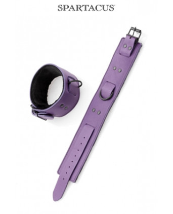 Bracelets chevilles cuir violet - Menottes et bracelets