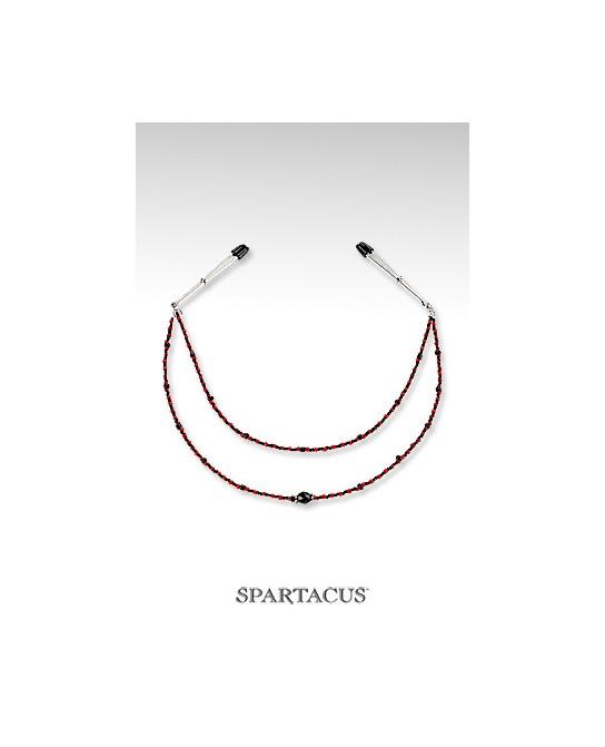 Collier de seins Perles rouge - 2 rangées - Bijoux seins
