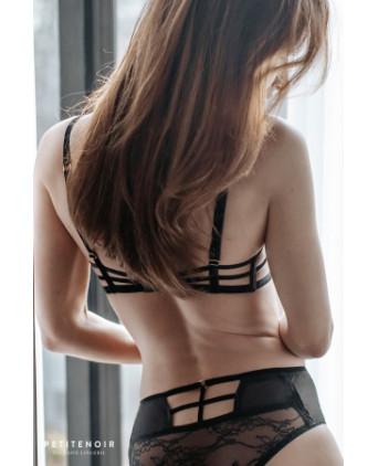Soutien-gorge balconnet à armatures dentelle et velours - Dessous Sexy