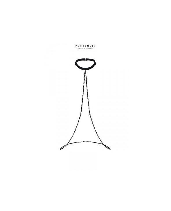 Collier Choker et perles noires - Lingerie