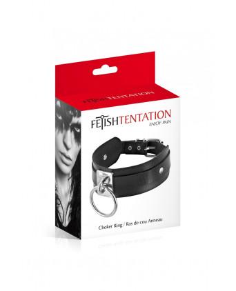 Collier BDSM large avec anneau - Fetish Tentation - Accessoires SM