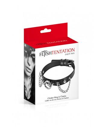 Collier avec pointes et chaines - Fetish Tentation - Accessoires SM