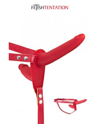 Double gode ceinture rouge - Fetish Tentation - Accessoires SM