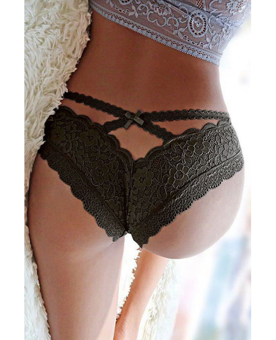 Tanga noir en dentelle fine - Dessous Sexy