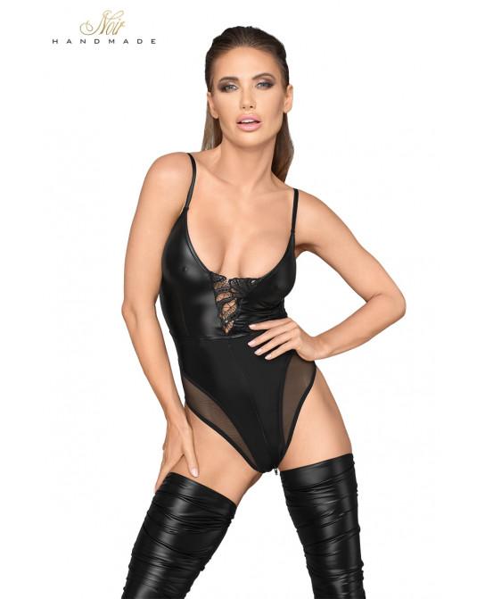 Body wetlook à bretelles F206 - Lingerie vinyle femme