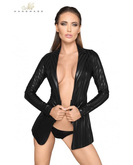 Veste tailleur wetlook à rayures F209 - Body et top