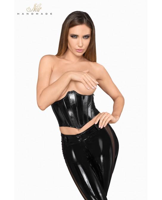 Corset faux cuir laqué F211 - Lingerie vinyle femme
