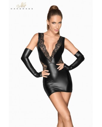 Mini robe wetlook et dentelle F212 - Robes sexy