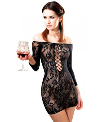 Robe Fetish Dinner résille Noir - Robes sexy