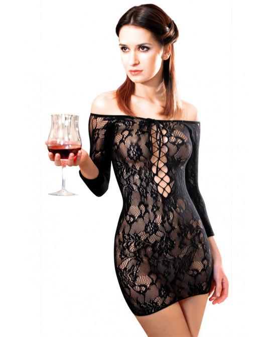 Robe Fetish Dinner résille Noir - Robes sexy
