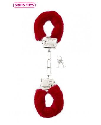 Menottes fourrure Shots - rouge - Jeux coquins