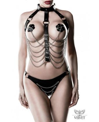 Harnais faux cuir et chaines 3 pièces - Grey Velvet - Ensembles sexy