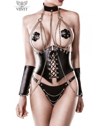 Corset faux cuir et chaines 4 pièces - Grey Velvet - Ensembles sexy