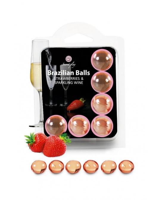 6 Brazilian Balls - fraise & champagne - Jeux coquins