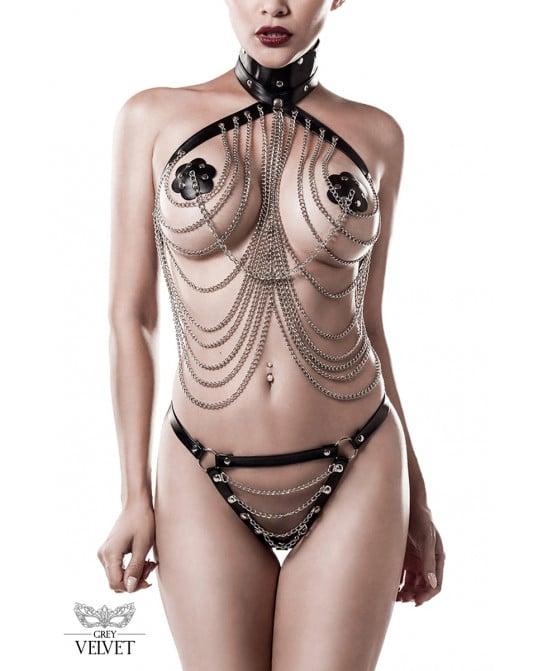 Lingerie SM cuir et chaînes 3 pièces - Grey Velvet - Lingerie vinyle femme