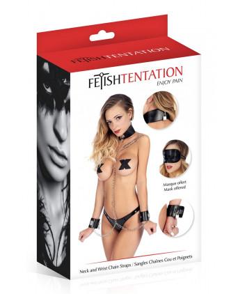 Collier et menottes avec chaînes - Fetish Tentation - Menottes et bracelets