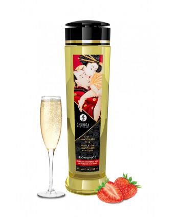 Huile de massage parfum fraise & vin pétillant - Shunga - Massages érotiques