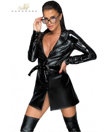Trench coat wetlook et vinyle F225 - Lingerie femme