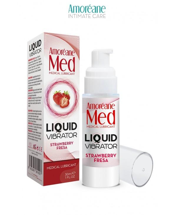 Lubrifiant Liquid Vibrator Fraise 30ml - Amoreane Med - Lubrifiants base eau