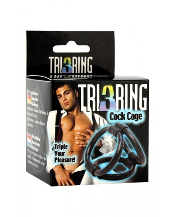 Cock Cage Tri ring - Cock and Balls