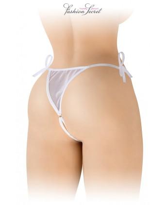 String blanc ouvert à nouer Stella - Fashion Secret - Dessous Sexy