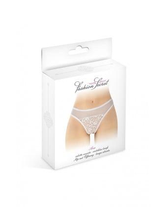 Tanga blanc ouvert Ava - Fashion Secret - Dessous Sexy