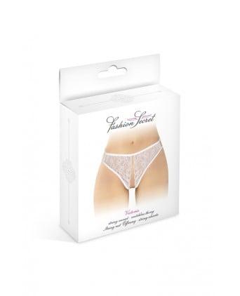 String blanc ouvert Victoria - Fashion Secret - Dessous Sexy