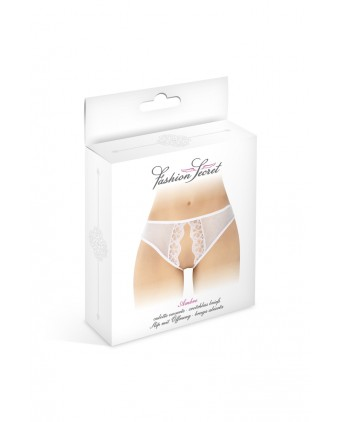 Culotte blanche ouverte Ambre - Fashion Secret - Dessous Sexy