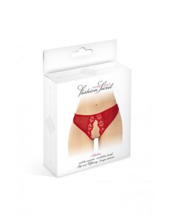 Culotte rouge ouverte Ambre - Fashion Secret - Dessous Sexy
