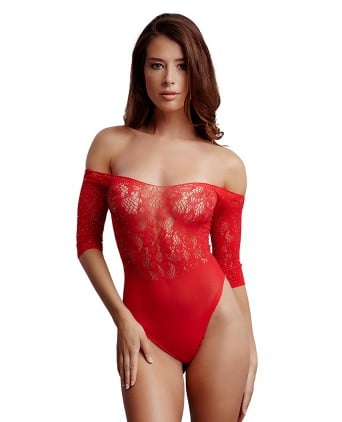 Body fendu rouge résille et strass - Le Désir - Busyx Femmes