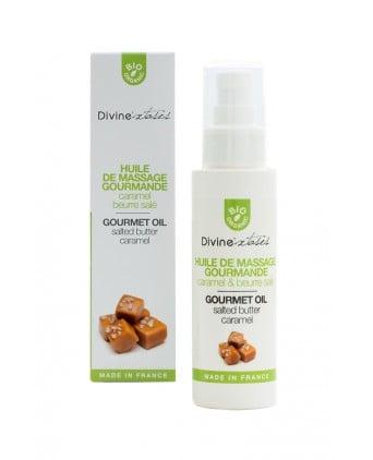 Huile de massage gourmande BIO Caramel - Divinextases - Massages érotiques
