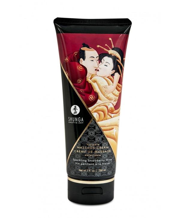 Crème de massage délectable vin pétillant à la fraise - Shunga - Import busyx