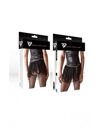 Mini jupe noire en maille transparente - Regnes - Prêt à porter
