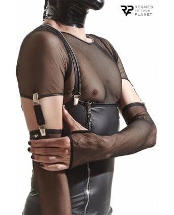 Gants longs en maille noire avec bretelles - Regnes - Gants