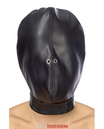 Cagoule BDSM fermée simili cuir - Fetish Tentation - Cagoules, masques