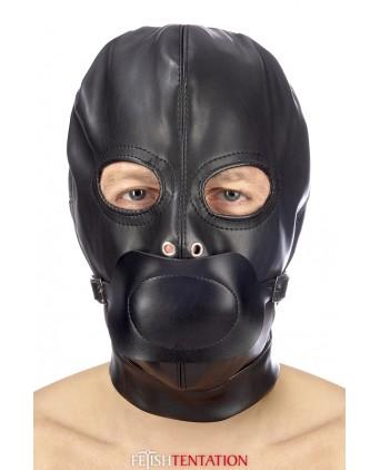 Cagoule BDSM simili cuir avec baillon amovible - Fetish Tentation - Import busyx