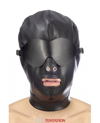 Cagoule simili cuir avec bandeau amovible - Fetish Tentation - Cagoules, masques