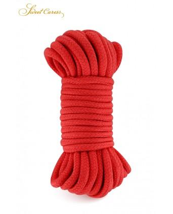 Corde de bondage rouge 10m - Sweet Caress - Attaches, contraintes