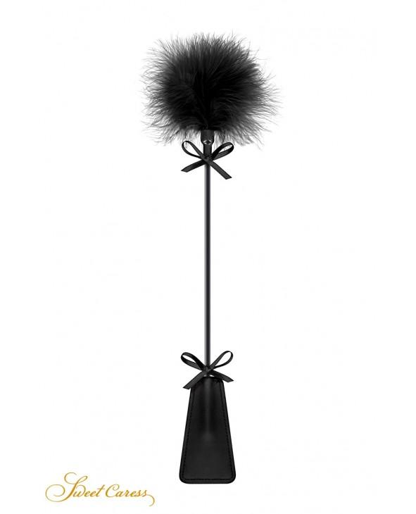 Tapette avec pompon noir - Sweet Caress - Fouets, cravaches