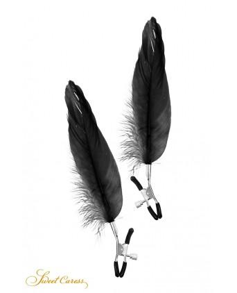 Pinces à seins plume noire - Sweet Caress - Import busyx