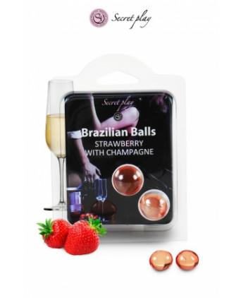 2 Brazilian Balls - fraise & champagne - Massages érotiques
